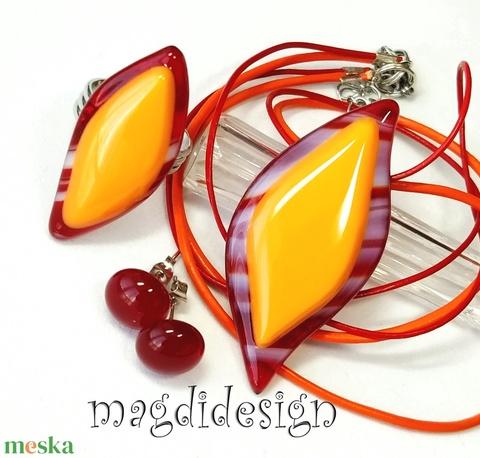 Levél narancsos-meggyben üvegékszer szett, nyaklánc, gyűrű, pötty fülbevaló - Meska.hu