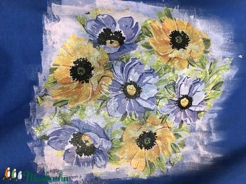 Virágmintás,kézzel festett és dekupázsolt,karcsúsított,rövidujjú,M-L - Meska.hu