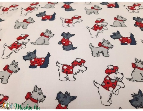 Cuki kutyusok  - kombináld pöttyössel - 100% pamut  textilek - textil - pamut - Meska.hu