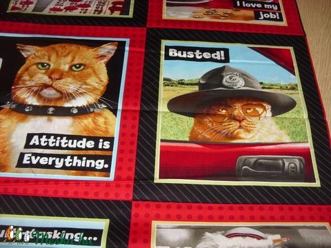8 blokkos cicás fotó nyomatos  - USA design textil  - 110 x 60 cm - textil - pamut - Meska.hu