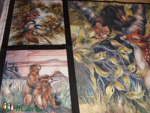 5 blokkos erdei állatos nagy panel  - USA design textil  - 110 x 60 cm - textil - pamut - Meska.hu