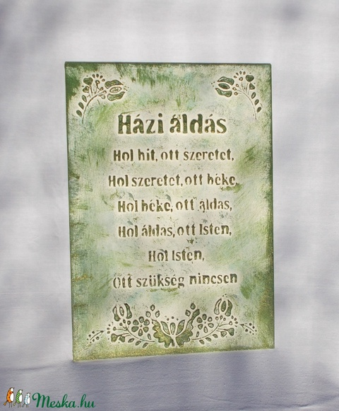 Házi áldás - síkból kiemelkedő betűkkel és mintával - Meska.hu
