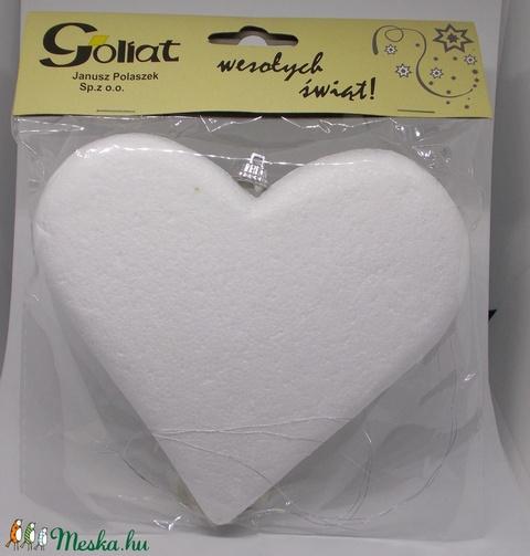 Polisztirol / hungarocell szív 15 cm - eredeti csomagolásban, akasztóval, ezüstszállal - Meska.hu