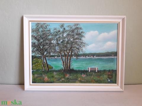 Vitorlások a tavon (Manelle) - Meska.hu