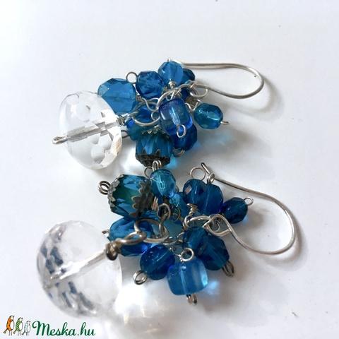 Frozen - kék-átlátszó üveggyöngyös fülbevaló  (Manofaktura) - Meska.hu
