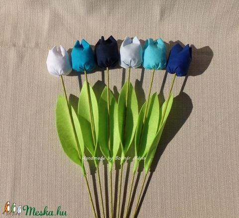 Textil tulipán, kék (Nagy, 6 db) (MariaBodnar) - Meska.hu