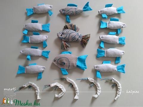 marti - role play set Nr.1. tematikus készlet - halpiac, türkizkék - bézs - pöttyös (szerepjáték szett)  (martismart) - Meska.hu