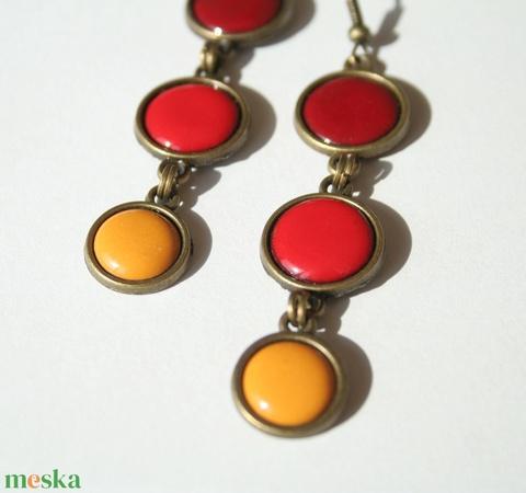 Hot and Spicy - bordó-narancs-okker lógós tűzzománc fülbevaló (MatisZomanc) - Meska.hu