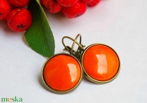 Narancs tűzzománc francia kapcsos fülbevaló (MatisZomanc) - Meska.hu