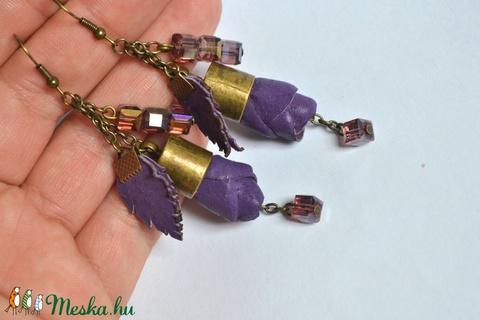 Spirit Purple-Tündérvirág-fülbevaló valódi bőrrel - Meska.hu