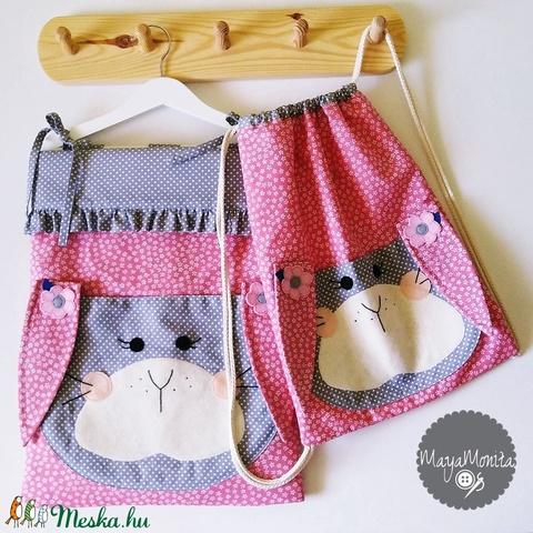 Nyuszis  óvodai zsák + tornazsák és takaró szett játéktároló tároló ruhazsák ruha zsák oviszsák ovizsák ovi (Mayamonita) - Meska.hu