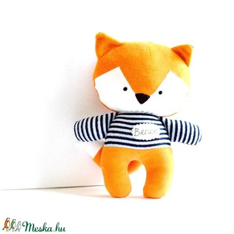 Egyedi róka figura kézzel hímzett névvel csíkos pulóverben Plüss játék Plüss figura Plüssróka - Meska.hu