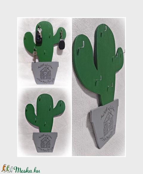 Kaktusz cserépben fali kulcstartó-fa, 33x22 cm - Meska.hu