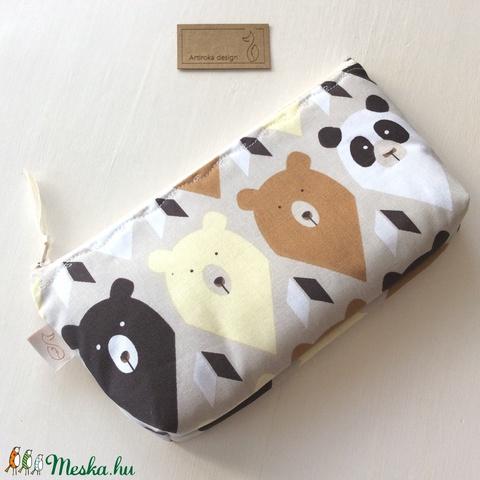 Natúr színű mackós,  panda mackós tolltartó, szemüvegtok - Artiroka design (Mesedoboz) - Meska.hu