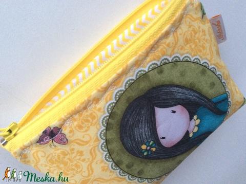 Sárga alapon kis tündér leányka türkiz ruhában,  virágos irattartó pénztárca - Artiroka design - Meska.hu