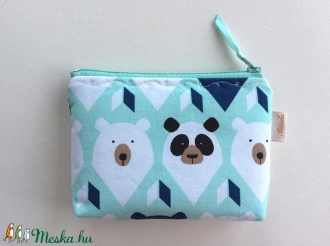 Maci és Panda maci mintás menta színű irattartó,  pénztárca - Artiroka design (Mesedoboz) - Meska.hu