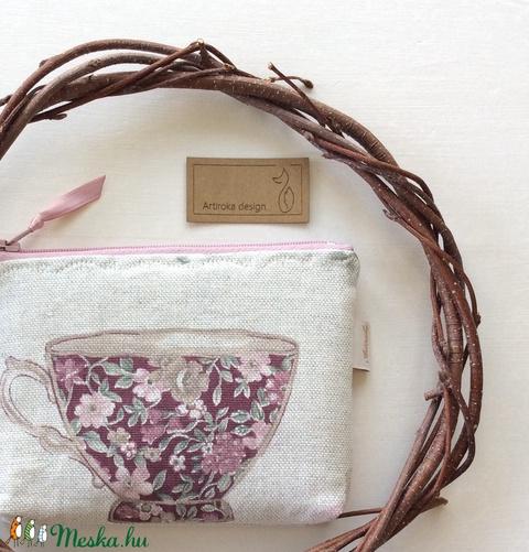 Csésze mintás irattartó pénztárca, sok virággal - Artiroka design - 108 - Meska.hu
