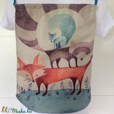 Róka, mosómedve és mókus mintás gymbag hátizsák, játéktároló - Fesztivál hátizsák, tornazsák edzéshez, mindennapokhoz (Mesedoboz) - Meska.hu
