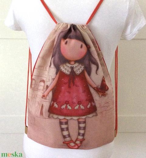 AKCIÓ - Kislány piros nyuszis ruhában - gymbag hátizsák, tornazsák - kiránduláshoz, edzéshez - Artiroka design - AKCIÓ - Meska.hu