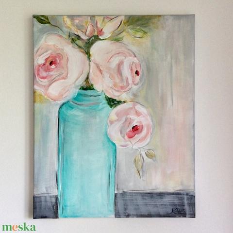 Napfényben ragyogó rózsa csokor - akril festmény  - Artiroka design  (Mesedoboz) - Meska.hu