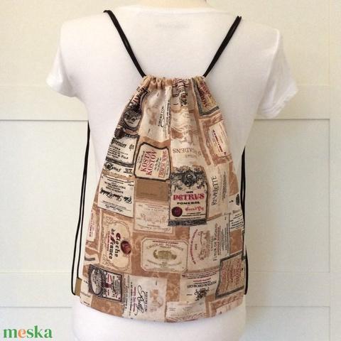 Boros címke mintás, gymbag hátizsák - edzéshez, kiránduláshoz, bortúrákhoz - Artiroka design - Meska.hu