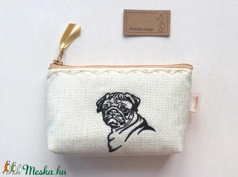 Hímzett kutya mintás, irattartó pénztárca, natúr színben  - Artiroka design (Mesedoboz) - Meska.hu