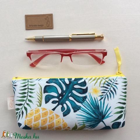 Ananászos, pálmafa levél mintás neszesszer, tolltartó vagy szemüvegtok - Artiroka design - 340 (Mesedoboz) - Meska.hu