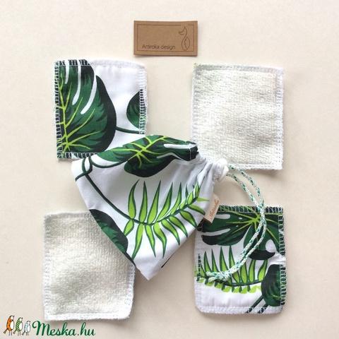 Levél mintás arctisztító párna szett, bambusz frottír és prémium pamut textil felhasználásával - Artiroka design (Mesedoboz) - Meska.hu