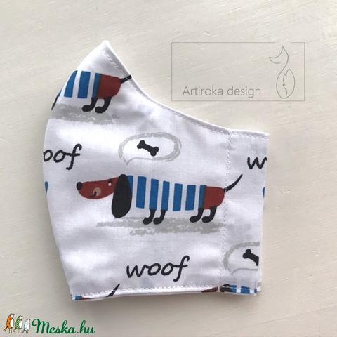 Tacskó kutya mintás prémium arcmaszk, szájmaszk, maszk, gyerekmaszk 3-6 éves gyermekre -  Artiroka design (Mesedoboz) - Meska.hu