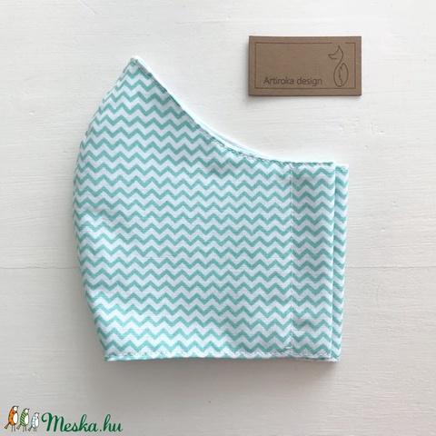 Türkiz zöld - fehér chewron mintás prémium arcmaszk, szájmaszk, maszk -  Artiroka design (Mesedoboz) - Meska.hu