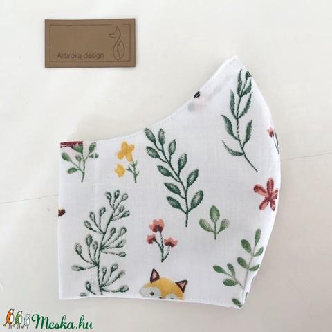 Hófehér, erdei tisztás kukucskáló rókával - mintás szájmaszk, maszk - Artiroka design (Mesedoboz) - Meska.hu
