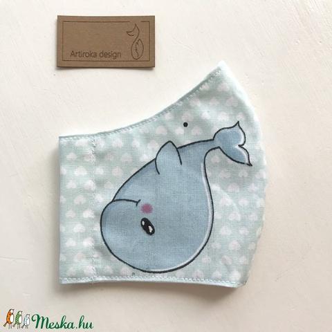 Pingvin és halacska mintás gyerek arcmaszk, szájmaszk, maszk - Artiroka design (Mesedoboz) - Meska.hu