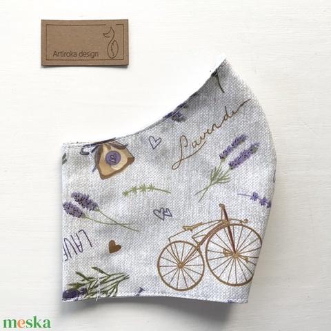 Levendula és bicikli mintás arcmaszk, szájmaszk, maszk -  Artiroka design (Mesedoboz) - Meska.hu