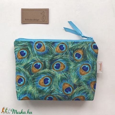 Kék és zöld pávatollas, irattartó pénztárca arannyal futtatva - Artiroka design  (Mesedoboz) - Meska.hu
