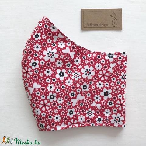 Piros virágos rét, pillangókkal - mintás prémium szájmaszk, maszk, arcmaszk - Artiroka design (Mesedoboz) - Meska.hu