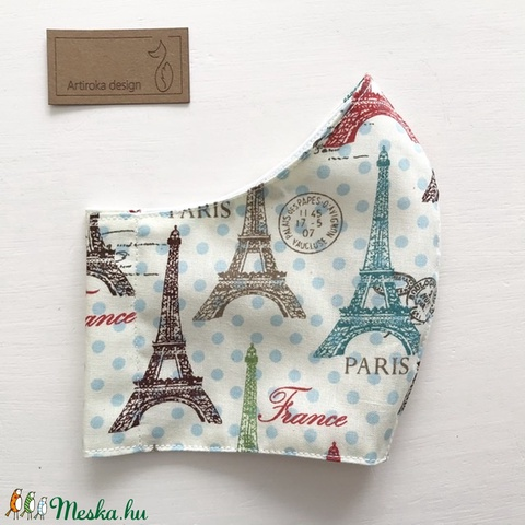 Párizs, Eiffel torony mintás arcmaszk, szájmaszk, maszk - Artiroka design - Meska.hu