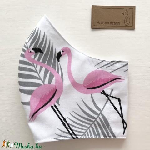 Flamingó mintás arcmaszk, szájmaszk, maszk - Artiroka design (Mesedoboz) - Meska.hu