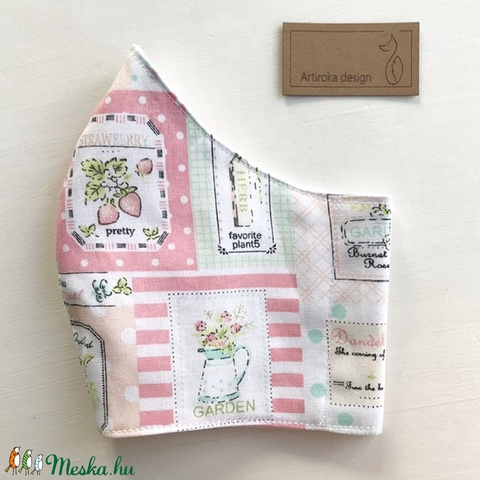 Kerti csodák - eper, virág mintás pamut textil arcmaszk, szájmaszk, maszk -  Artiroka design (Mesedoboz) - Meska.hu