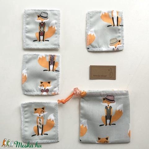 Bambusz frottír és Róka - Móka mintás pamut textilből készült arctisztító párna csomag, - NoWaste  - Meska.hu