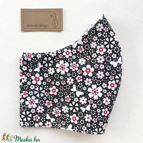 Virágos rét, pillangókkal mintás  prémium szájmaszk, maszk, arcmaszk - Artiroka design (Mesedoboz) - Meska.hu
