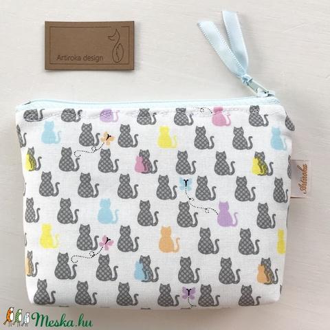 Színes cica és pillangó mintás prémium irattartó pénztárca vagy tolltartó, szemüvegtok - Artiroka design - Meska.hu