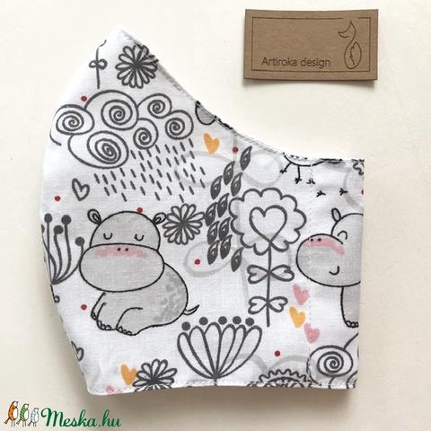 Nyári rét mintás fehér színű,  pamut arcmaszk, szájmaszk, maszk, gyerekmaszk - Artiroka design (Mesedoboz) - Meska.hu
