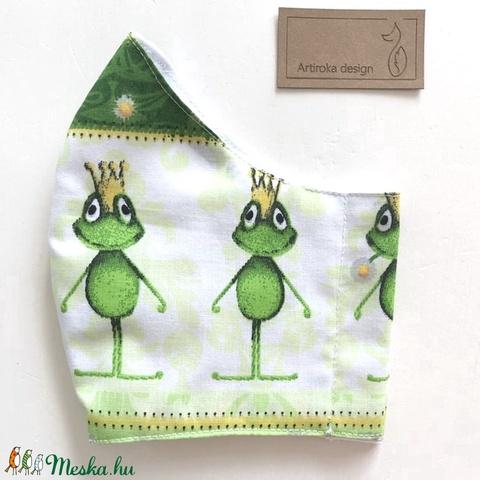 Béka király mintás arcmaszk, szájmaszk, maszk, gyerekmaszk pamut textilből - Artiroka design (Mesedoboz) - Meska.hu