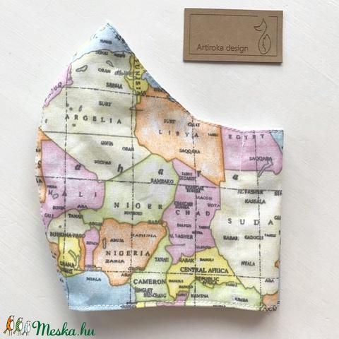 Világjáró, térkép mintás arcmaszk, szájmaszk, maszk, gyerekmaszk -  Artiroka design (Mesedoboz) - Meska.hu