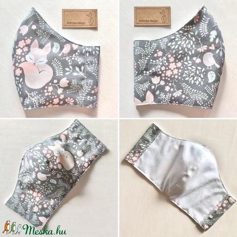 Prémium pamut textil, alvó kis róka, virág és madár mintás arcmaszk, szájmaszk, maszk - Artiroka design - Meska.hu