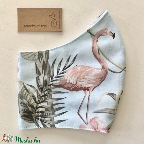 Flamingó mintás prémium arcmaszk, szájmaszk, maszk - Artiroka design (Mesedoboz) - Meska.hu