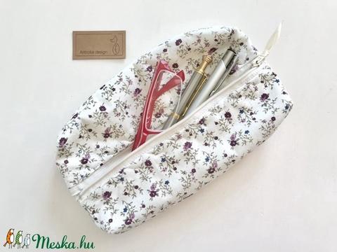 Bézs színű, kisvirágos tolltartó, szemüvegtok neszesszer  - Artiroka design  (Mesedoboz) - Meska.hu