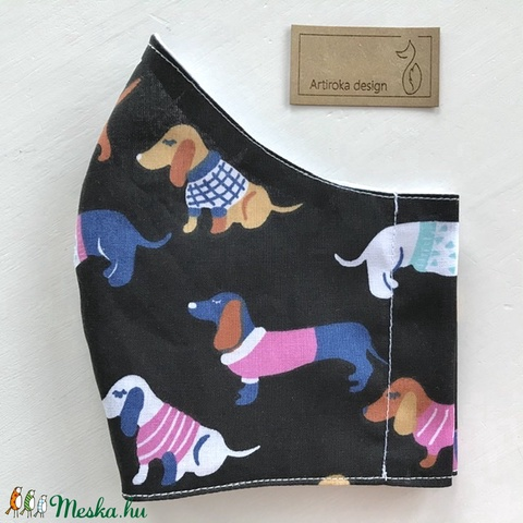 Tacskó kutya mintás fekete színű arcmaszk, szájmaszk, maszk, gyerekmaszk -  Artiroka design (Mesedoboz) - Meska.hu