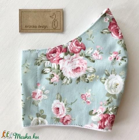 Türkiz színű, rózsa mintás  prémium pamut textil arcmaszk, szájmaszk, maszk -  Artiroka design (Mesedoboz) - Meska.hu