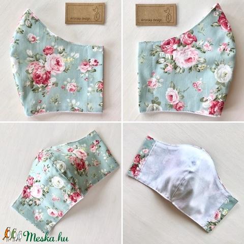 Türkiz színű, rózsa mintás  prémium pamut textil arcmaszk, szájmaszk, maszk -  Artiroka design - Meska.hu